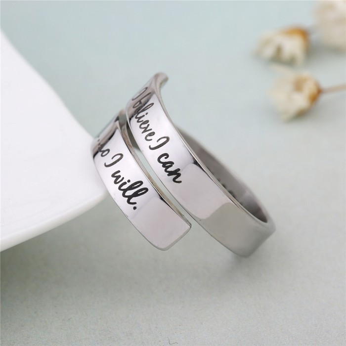 Survivor Stainless Steel Open Wrap Ring We Fought I Won It Came