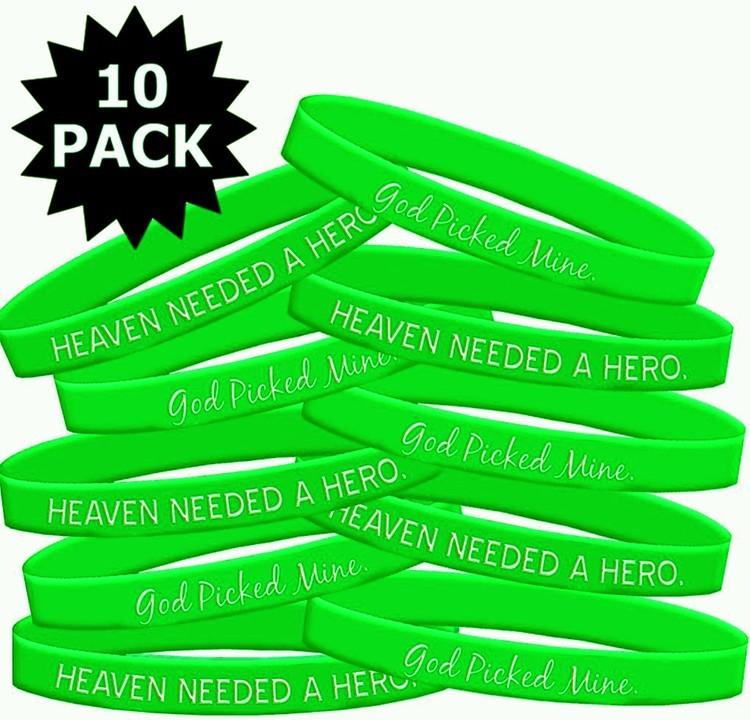 Lymphoma Muscular Dystrophy Wristband Bracelet Heaven Needed a Hero God Picked Mine 10 Pack