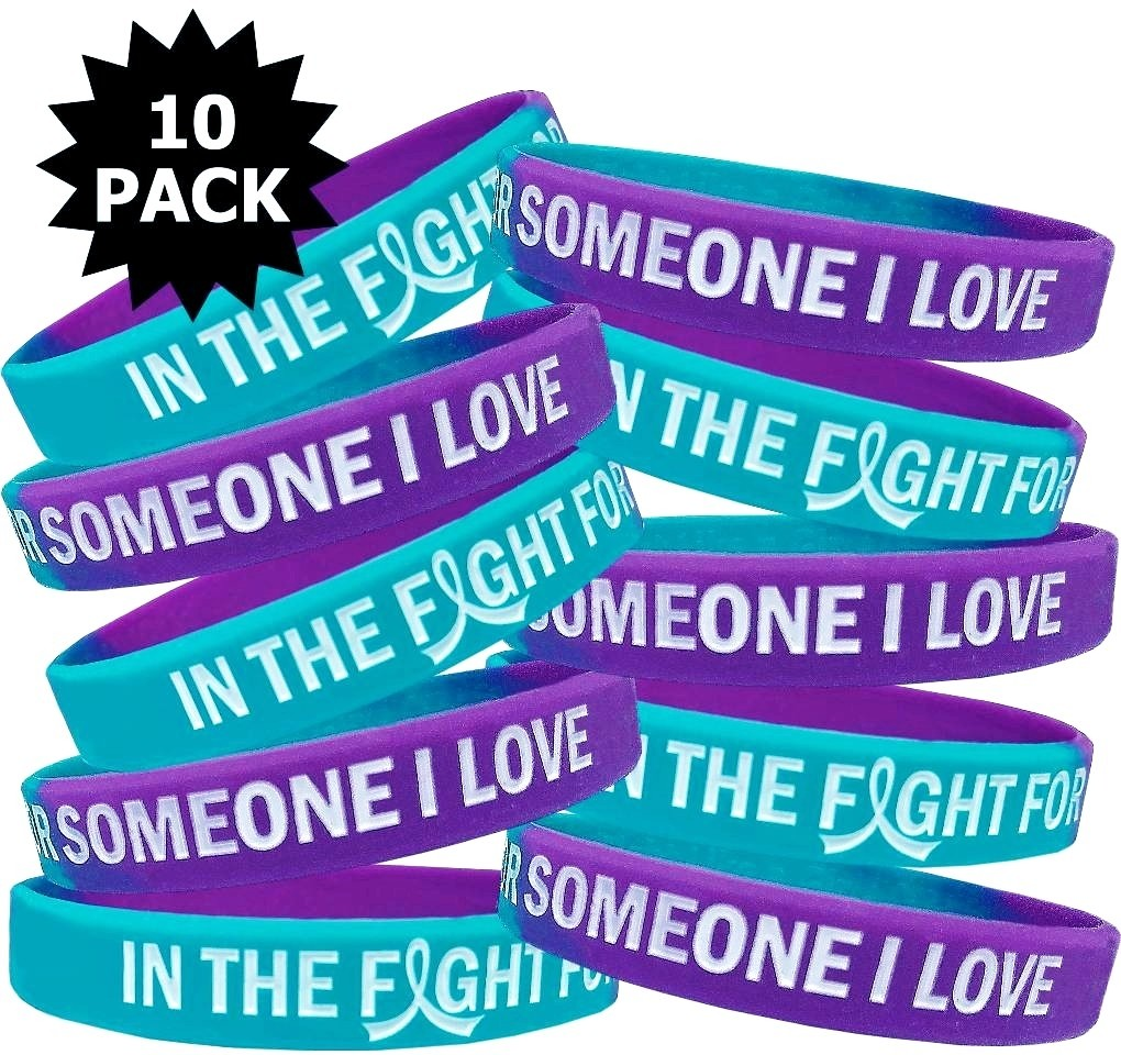 """""""In The Fight"""" Breast Cancer Silicone Wristband - Teal, Purple"""