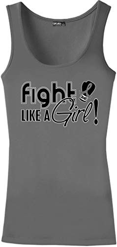 """""""Fight Like a Girl Signature"""" Stretch Tank Top - Grey"""