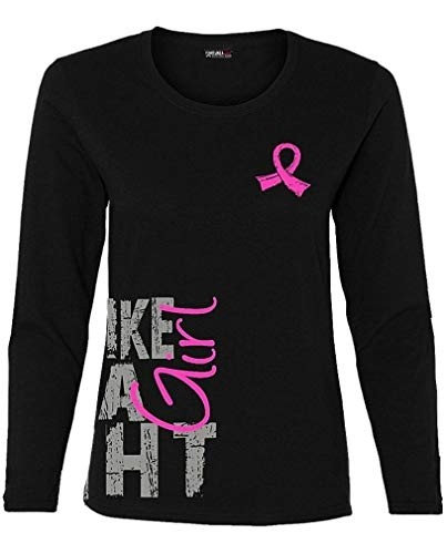 """Fight Like a Girl Side Wrap"" Ladies Long Sleeve Shirt - Black w/ Pink"