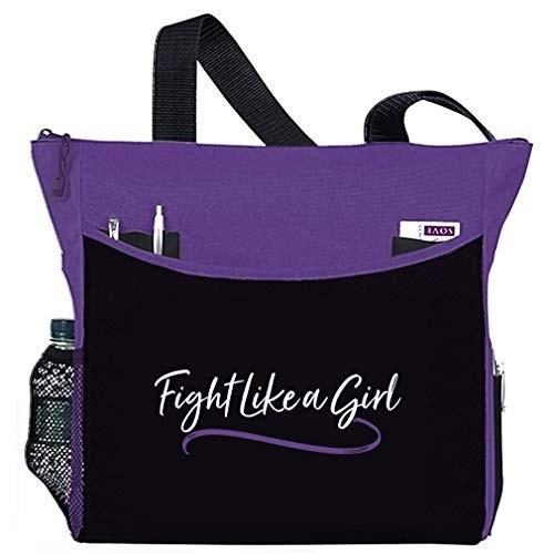 """Fight Like a Girl Script"" Dakota Tote Bag - Purple"