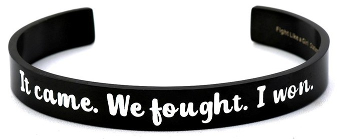 Fight Like a Girl Bangle Cuff Bracelet Black Plated Stainless Steel in Jewelry Box