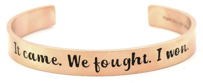 Fight Like a Girl Bangle Cuff Bracelet Rose Gold Plated Stainless Steel in Jewelry Box