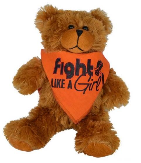 """Fight Like a Girl Signature"" Teddy Bear Fight Pal With Bandana - Orange"