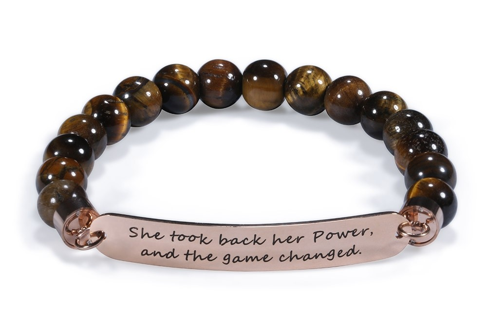 She Took Back Her Power Bead Stretch Bracelet - Tiger's Eye