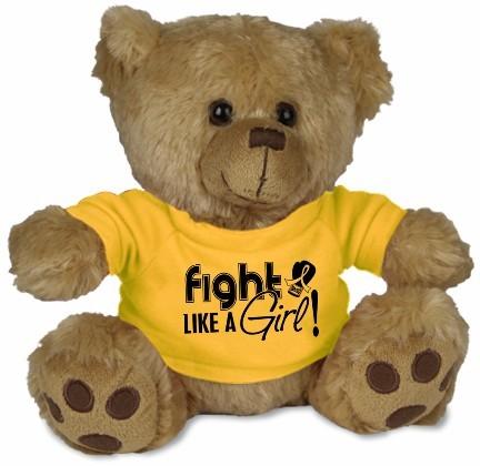 Fight Like a Girl Teddy Bear Stuffed Animal - Gold