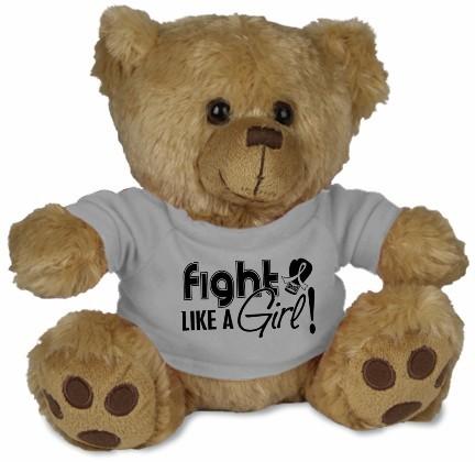Fight Like a Girl Teddy Bear Stuffed Animal - Grey