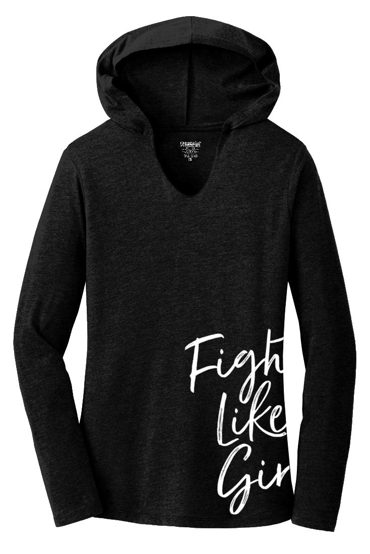 """Fight Like a Girl Script"" Side-Wrap Ladies Tri-Blend Hooded Long Sleeve Shirt - Black Frost"