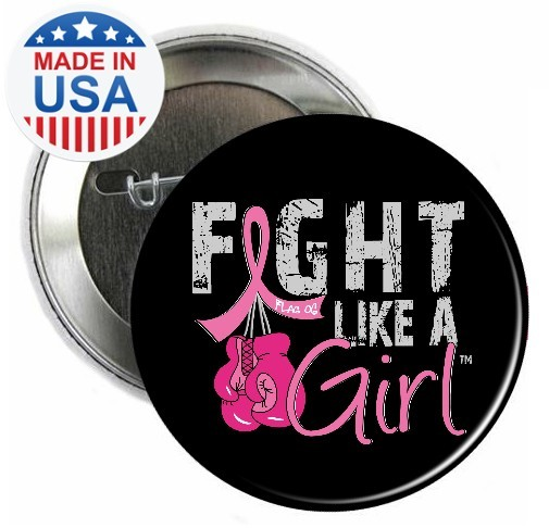 Fight Like a Girl Buttons Pins - Breast Cancer Boxing Gloves