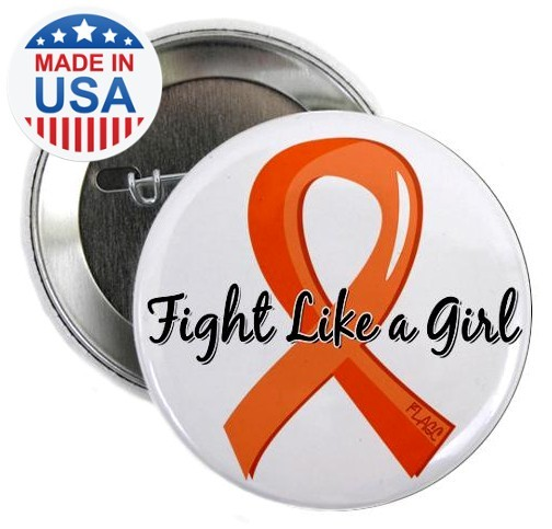 Fight Like a Girl Orange Ribbon Buttons