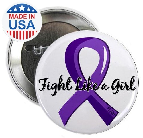 Fight Like a Girl Purple Ribbon Buttons