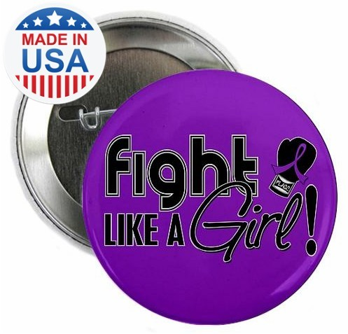 Fight Like a Girl Signature Round Button - Purple