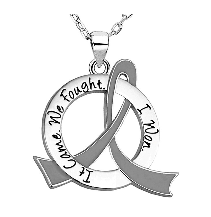 """It Came. We Fought. I Won."" Survivor Necklace w/ Grey Ribbon For Brain Cancer, Tumor, Diabetes, Parkinson's Disease"