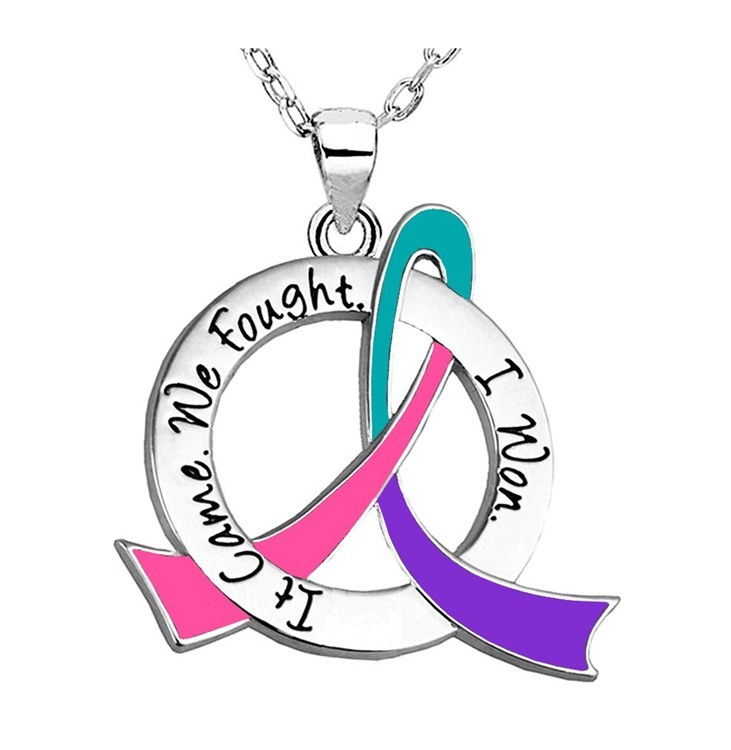 "Thyroid Cancer Survivor Necklace ""It Came. We Fought. I Won."" Stainless Steel"