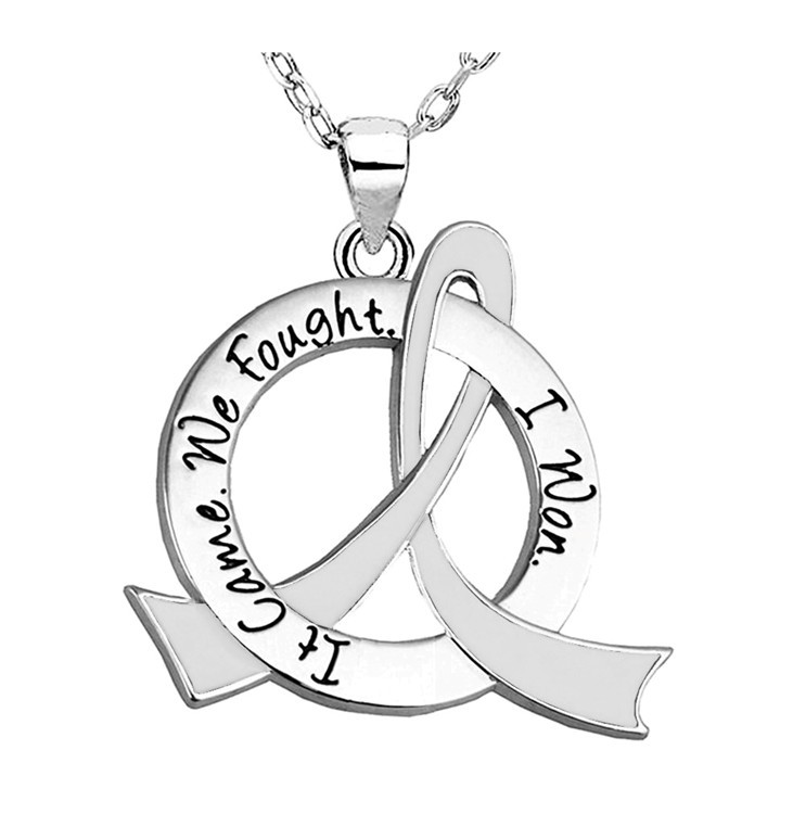 """It Came. We Fought. I Won."" Survivor Necklace For Lung Cancer, Lung Disease, Mesothelioma, Bone Cancer, Retinoblastoma"