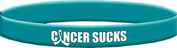 Cancer Sucks Teal Wristband Bracelet for Ovarian Cancer, Peritoneal Cancer, Gynecologic Cancer