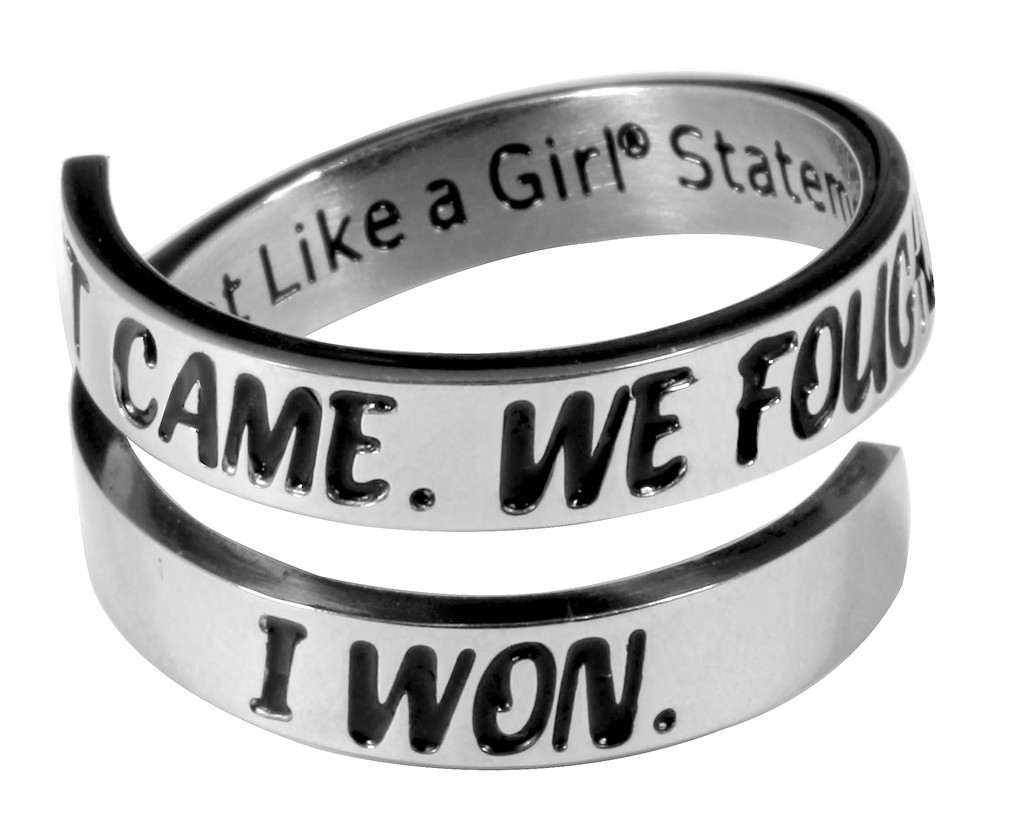"""""""It Came. We Fought. I Won"""" Open Wrap Stainless Steel Ring"""