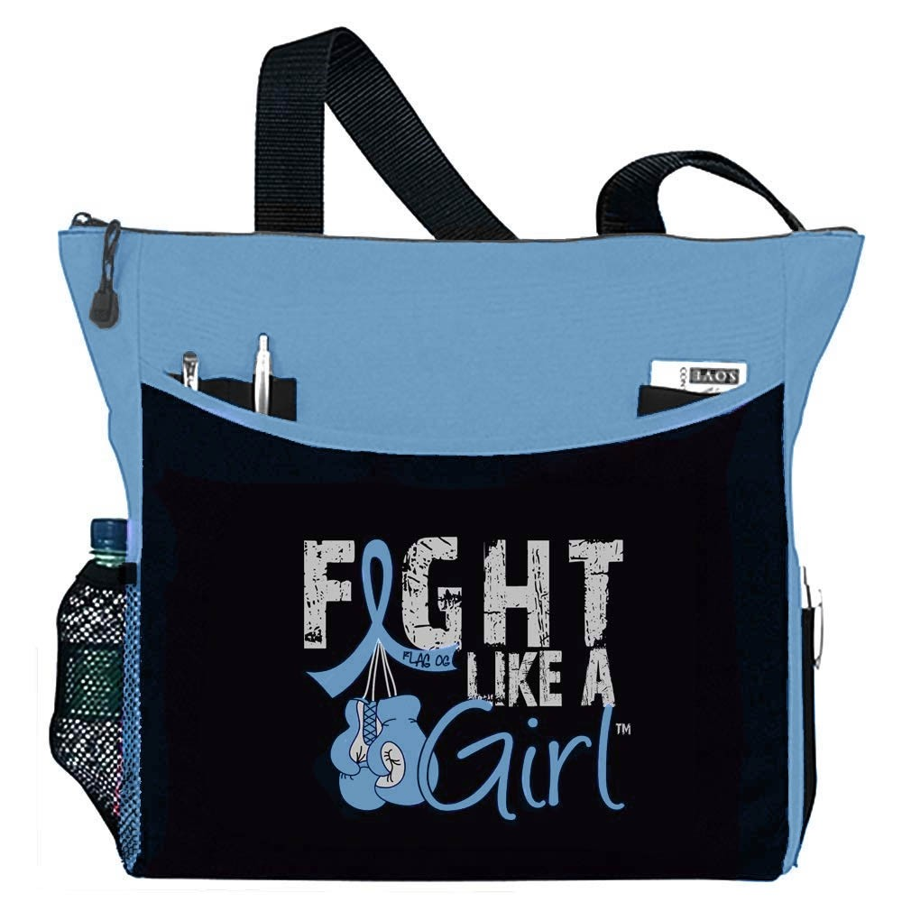 """Fight Like a Girl Knockout"" Dakota Tote Bag - Light Blue"
