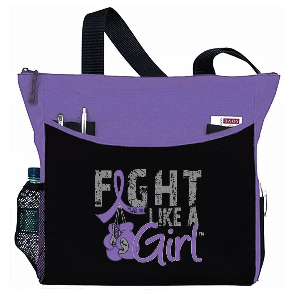 """Fight Like a Girl Knockout"" Dakota Tote Bag - Purple"