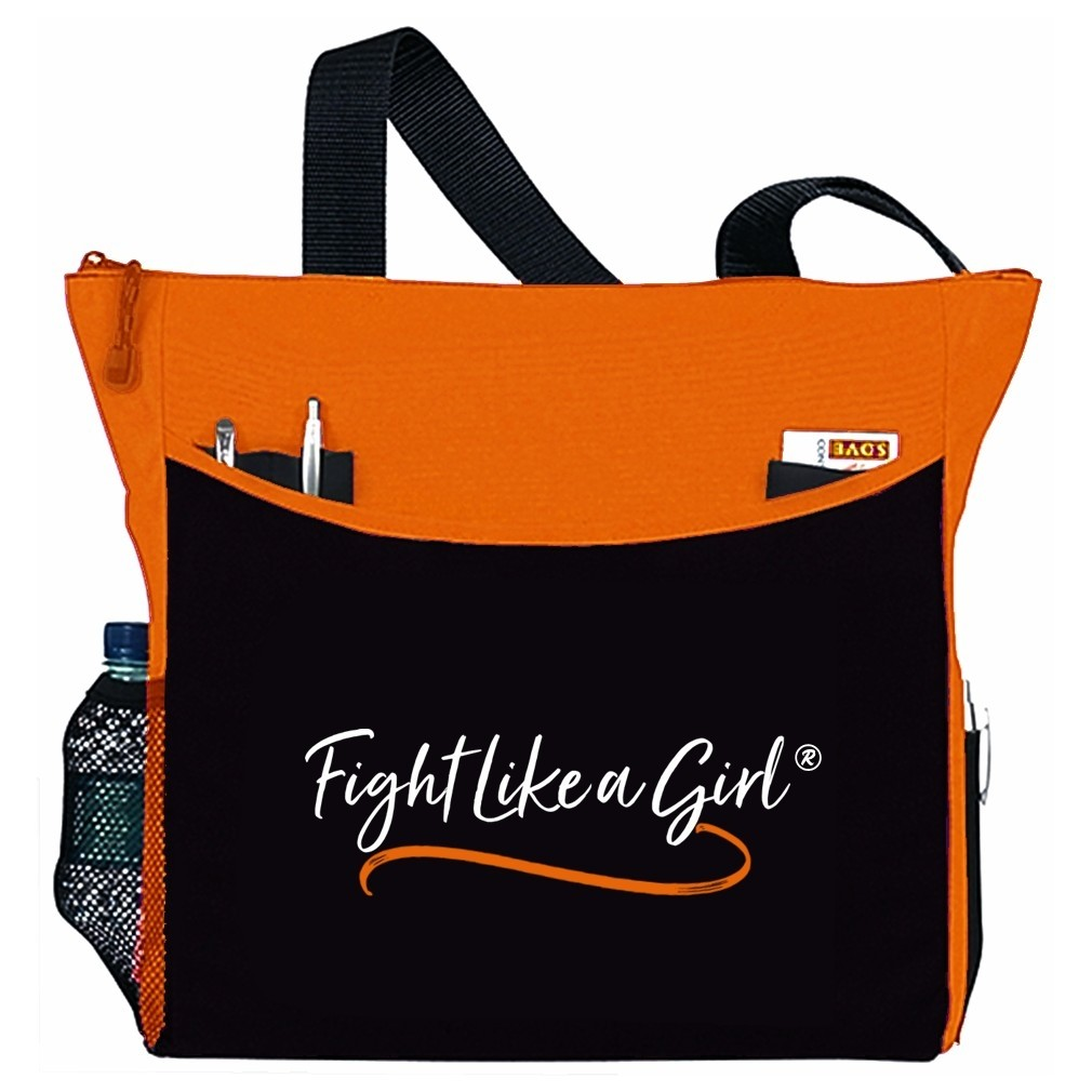"""Fight Like a Girl Script"" Dakota Tote Bag - Orange"
