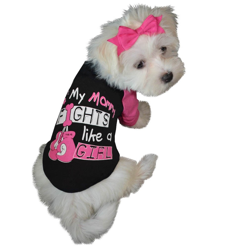 """""""My Mommy Fights Like a Girl"""" Dog T-Shirt - Black w/ Pink"""
