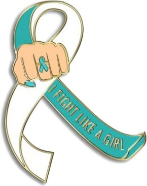 """I Fight Like a Girl Fist"" Lapel Pin - Teal and White"