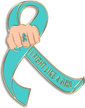 """I Fight Like a Girl Fist"" Lapel Pin - Teal"
