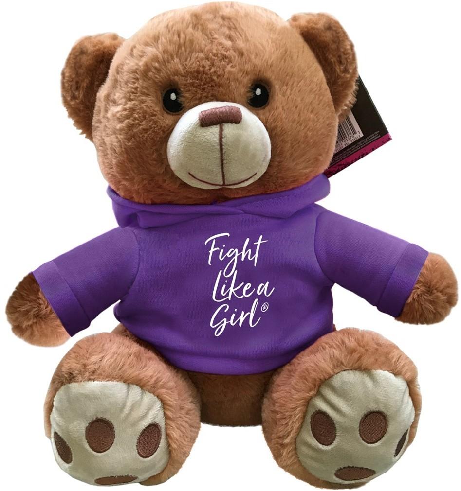 """""""Fight Like a Girl Script"""" Fight Pal Teddy Bear - Purple"""