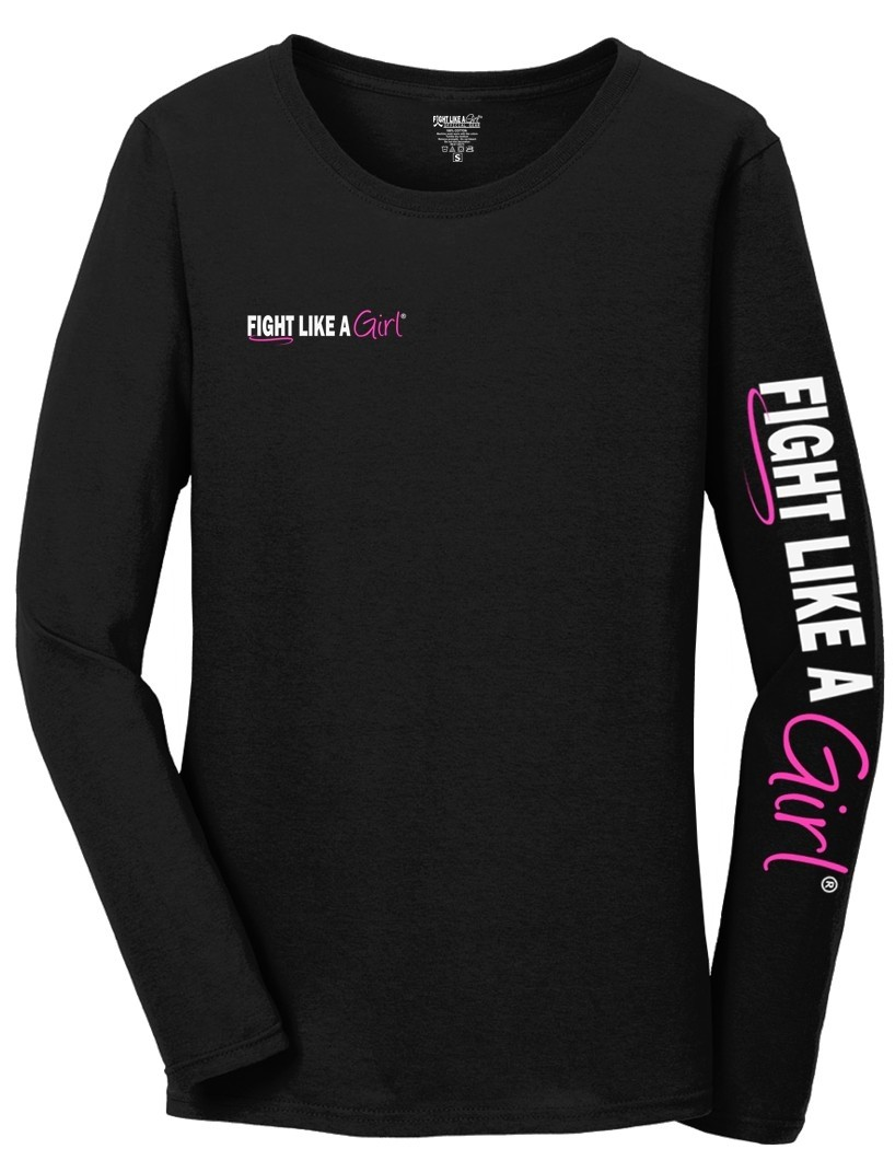 """Fight Like a Girl Hybrid 2"" Kids Long Sleeve T-Shirt - Black"