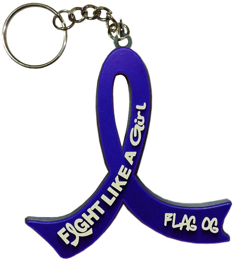 """Fight Like a Girl Hybrid"" Awareness Ribbon Keychain - Blue"