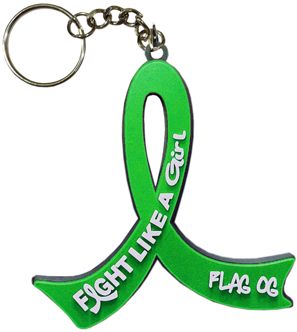 Fight Like a Girl Keychain for Kidney Cancer Bile Duct Cancer Brain Spinal Cord Injury Depression Cerebral Palsy