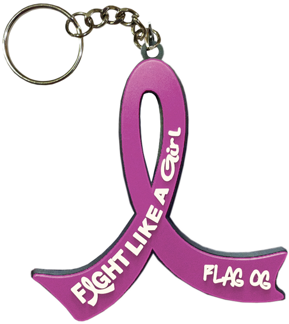 Fight Like a Girl Keychain for General Cancer - Lavender Ribbon