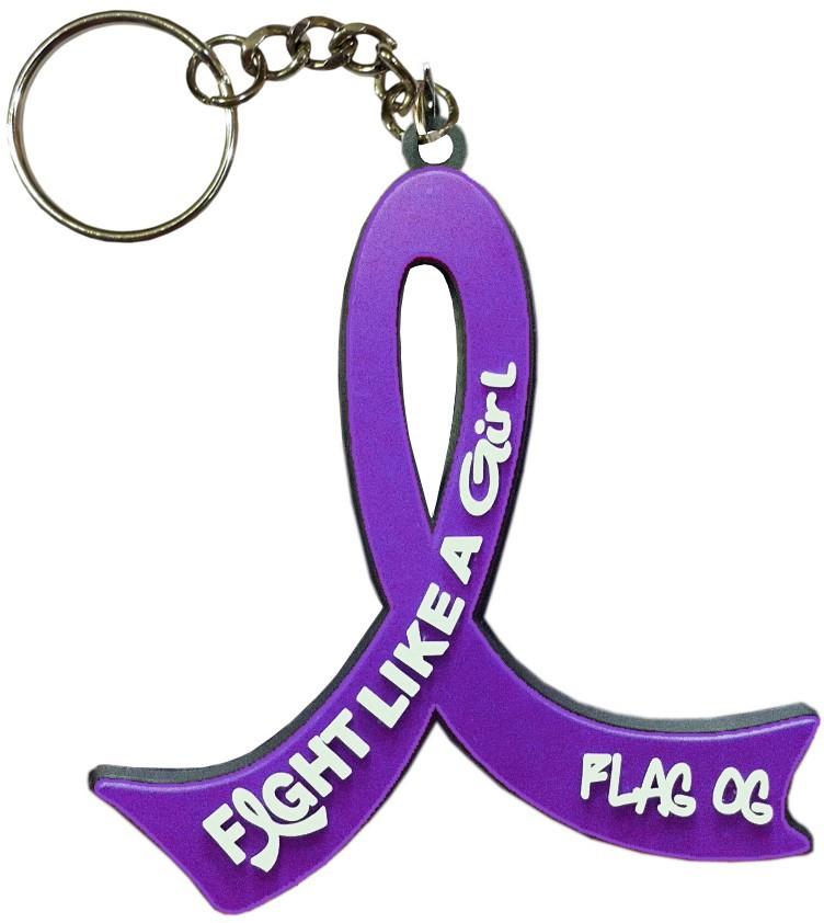 Fight Like a Girl Purple Ribbon Key Chain for Lupus, Fibromyalgia, Pancreatic Cancer, Cystic Fibrosis