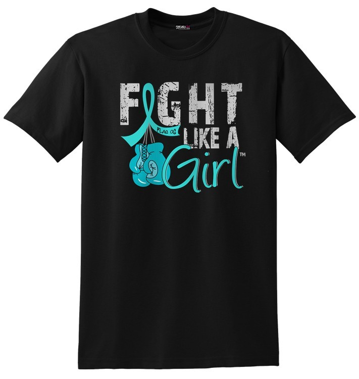 Fight Like A Girl T-Shirts with Boxing Gloves for Ovarian Cancer, PCOS, PKD, Interstitial Cystitis, Scleroderma, Peritoneal Cancer