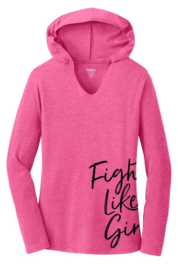 """""""Fight Like a Girl Script"""" Side-Wrap Ladies Tri-Blend Hooded Long Sleeve Shirt - Pink Frost"""