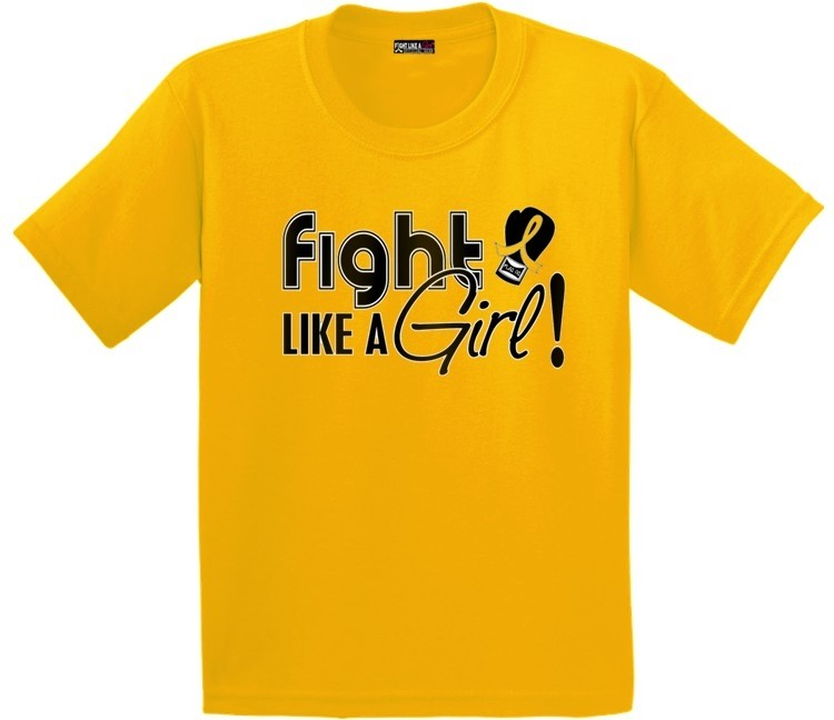 Fight Like a Girl Kids T-Shirt with Gold Ribbon