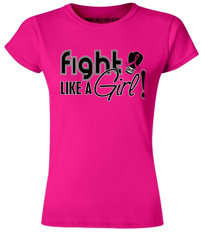 Fight Like a Girl Signature Ladies Fit T-Shirt - Hot Pink
