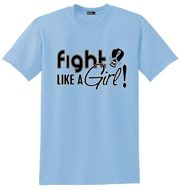 Fight Like a Girl T-Shirt for Thyroid Disease, Lymphedema, Addison's Disease, Behcet's Disease, Grave's Disease, Scleroderma, Prostate Cancer