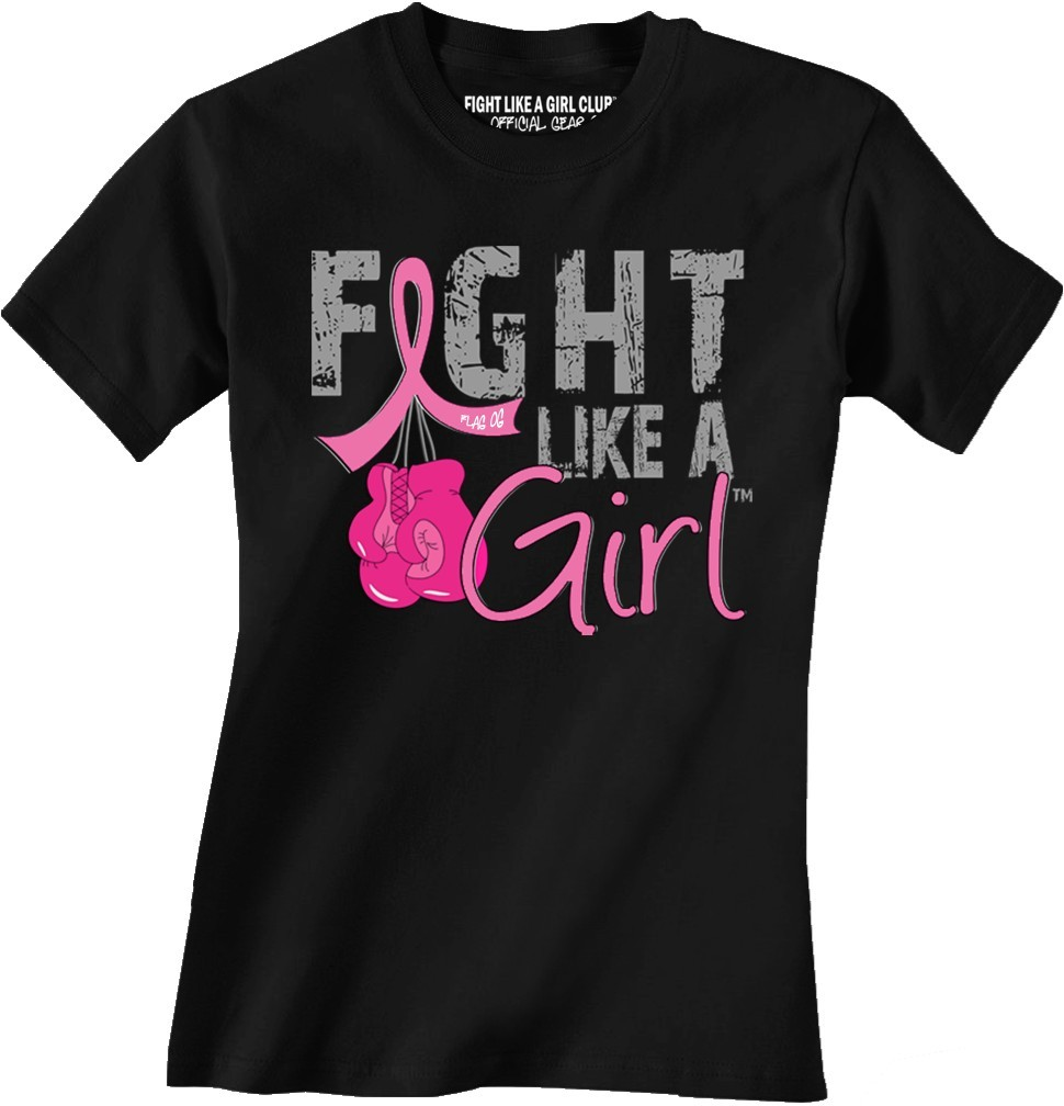 Fight Like a Girl Boxing Glove T-Shirt - Breast Cancer