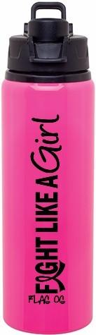 Fight Like a Girl Vertical Aluminum Sports Bottle - Hot Pink