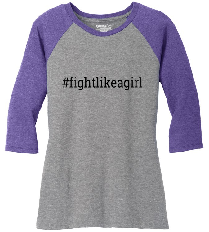 Hashtag Fight Like a Girl Raglan Baseball T-Shirt w/ Purple 3/4 Sleeves