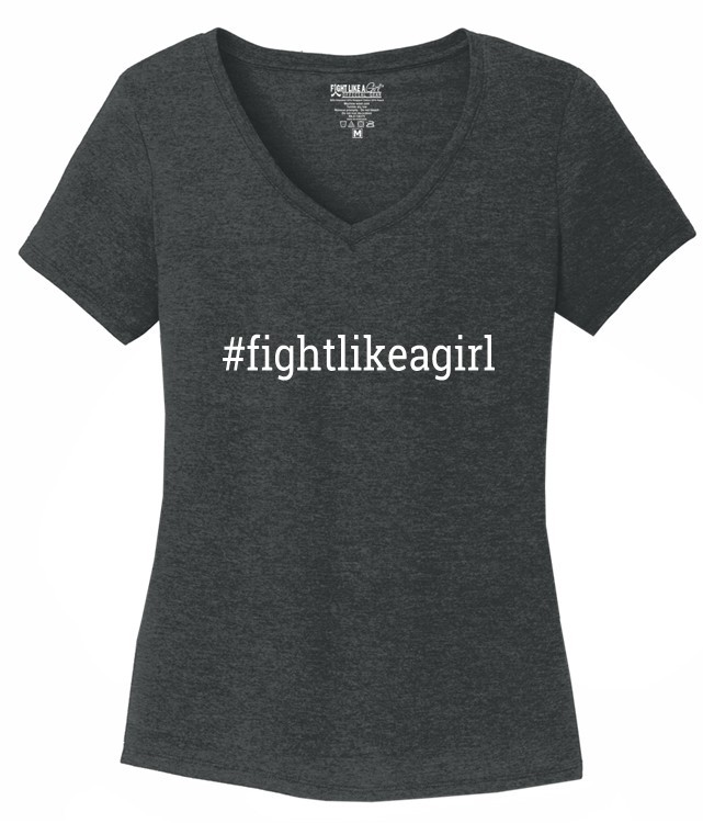 Hashtag Fight Like a Girl V-Neck T-Shirt