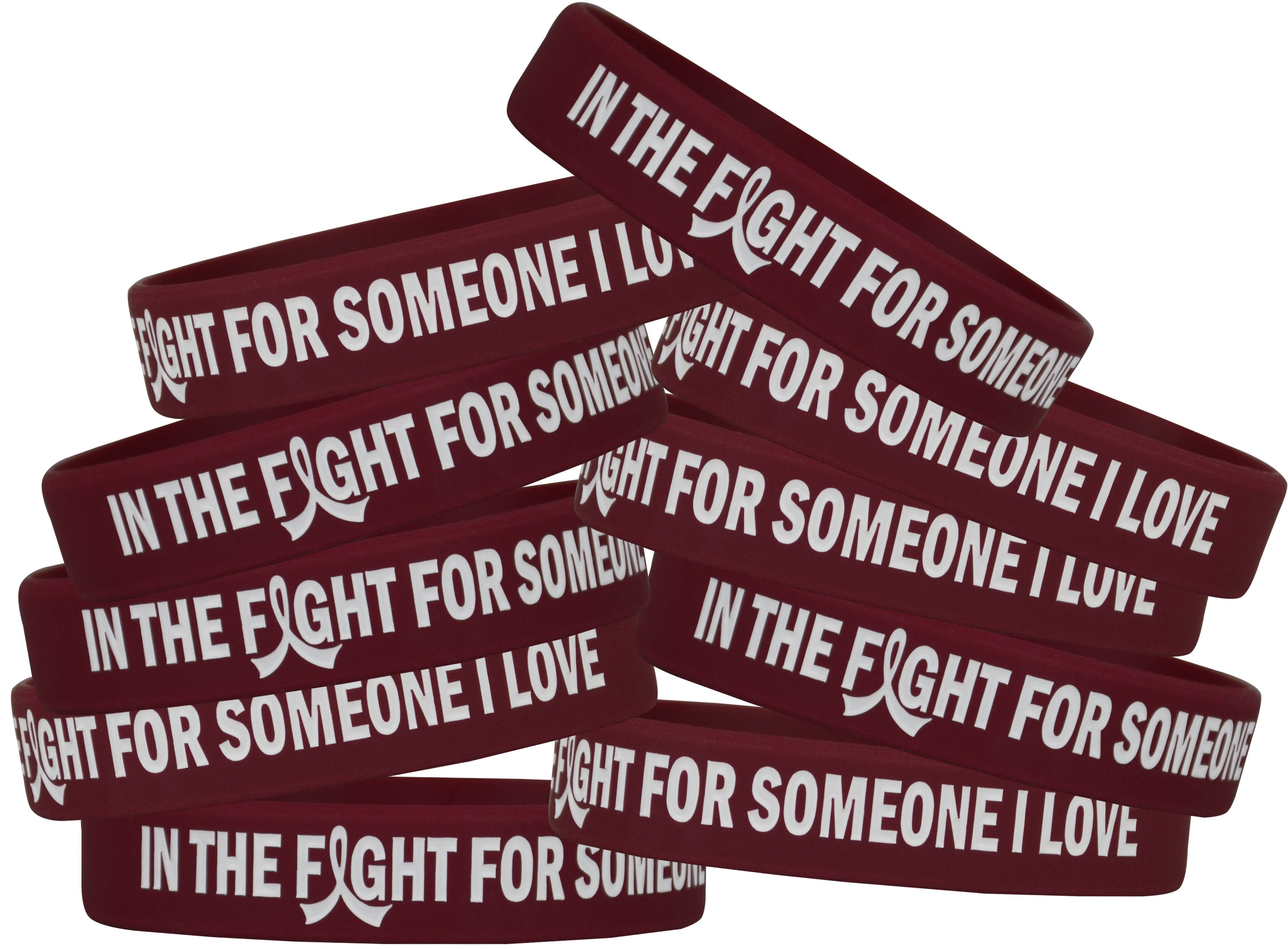 """""""In the Fight"""" Silicone Wristband Bracelet - Burgundy"""