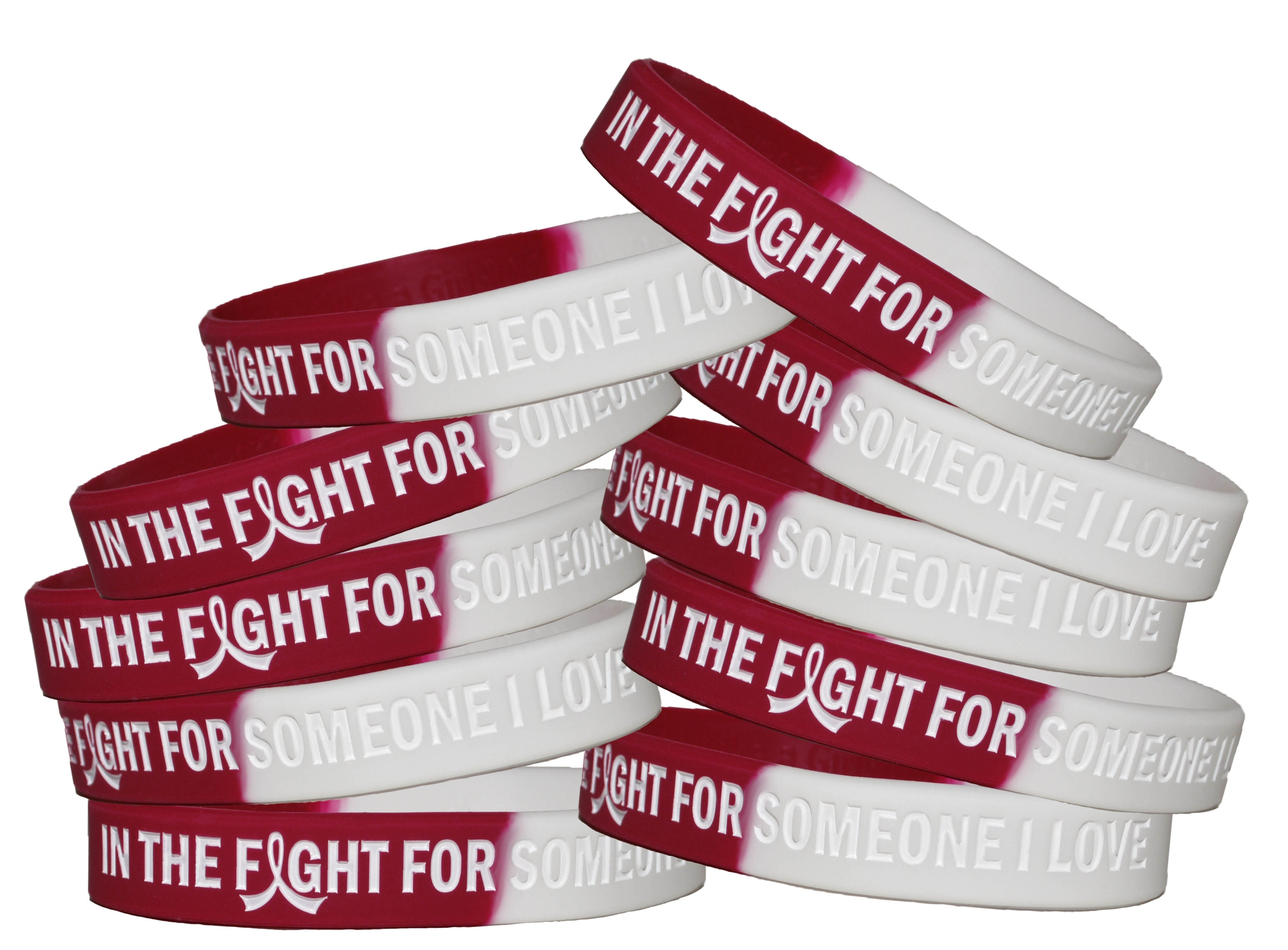 """""""In The Fight"""" Breast Cancer Silicone Wristband - Burgundy, White"""