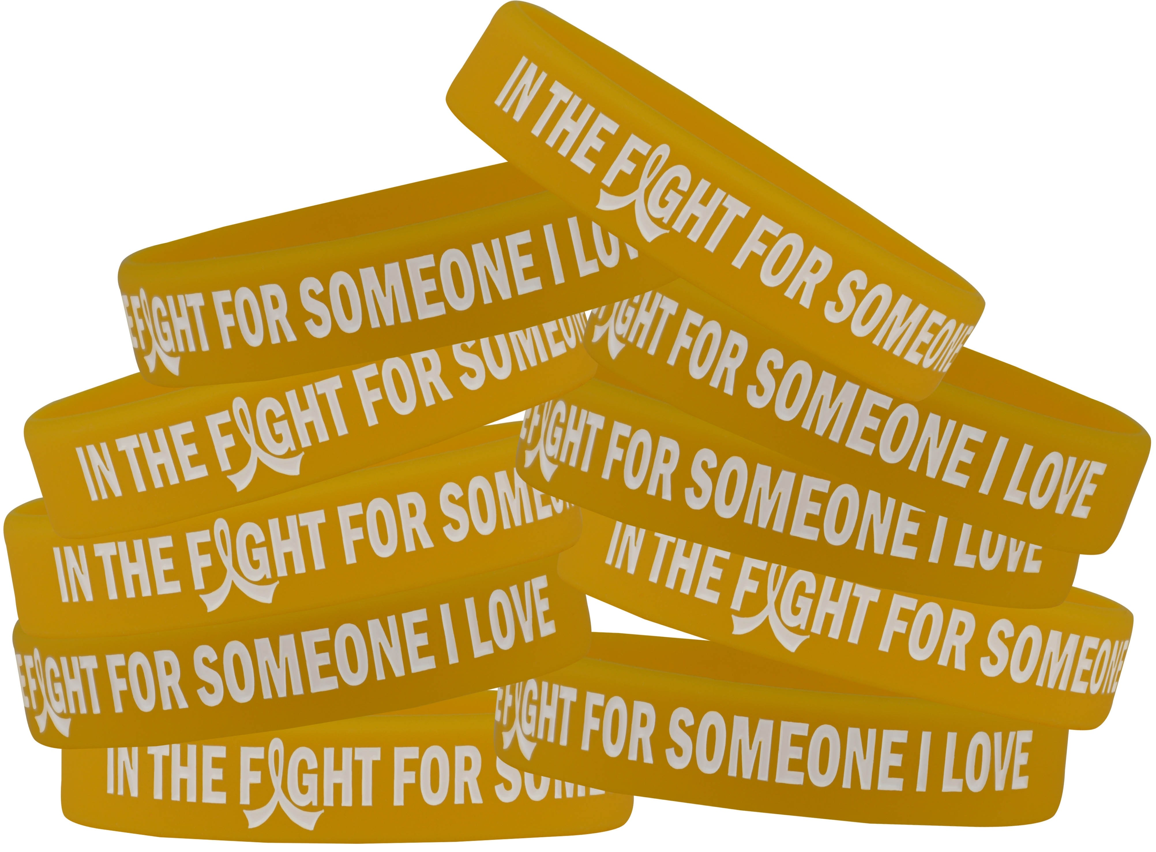 """""""In the Fight"""" Silicone Wristband Bracelet - Gold"""