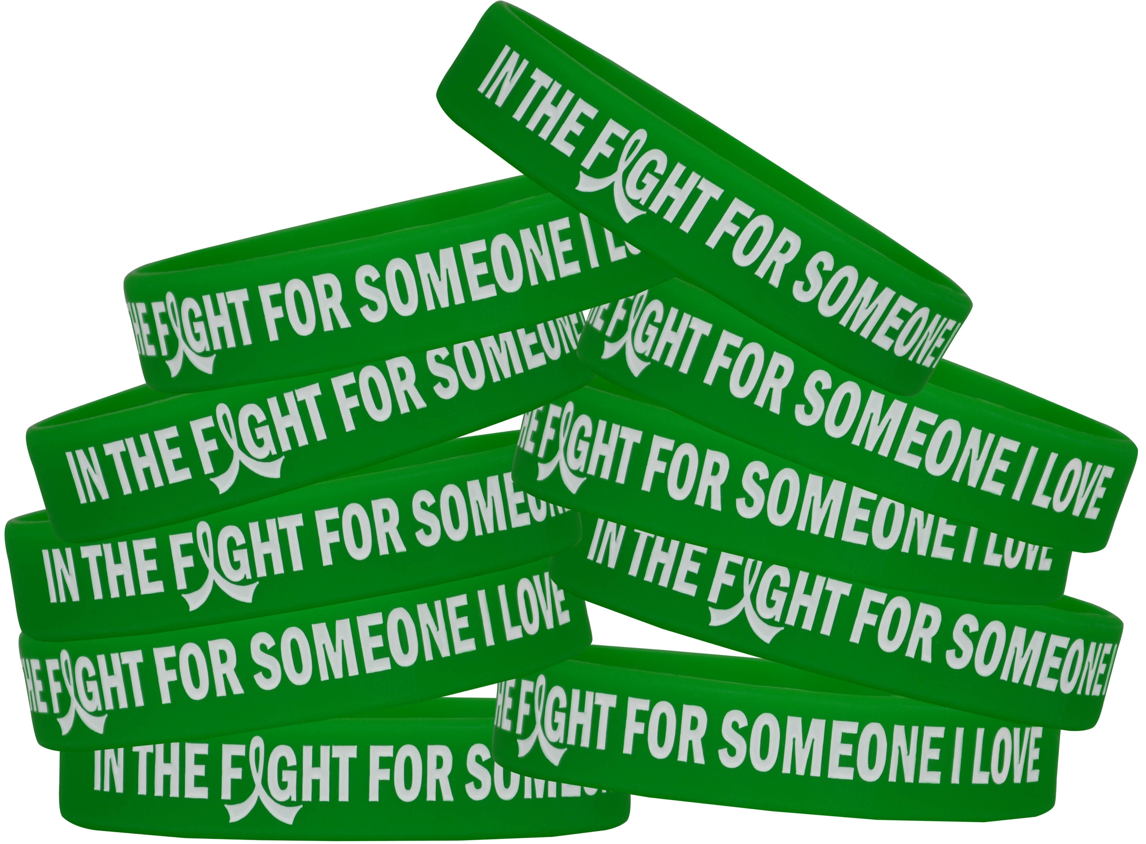 """""""In the Fight"""" Silicone Wristband Bracelet - Green"""