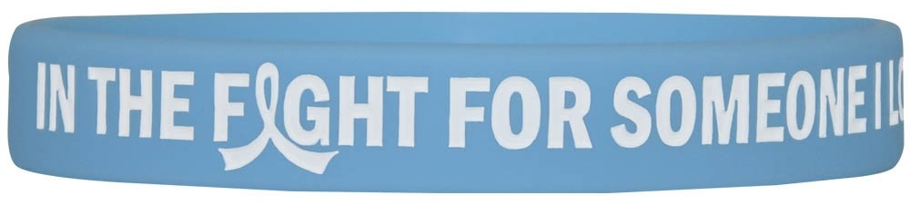 """In The Fight"" Ink-Filled Silicone Wristband Bracelet - Light Blue"