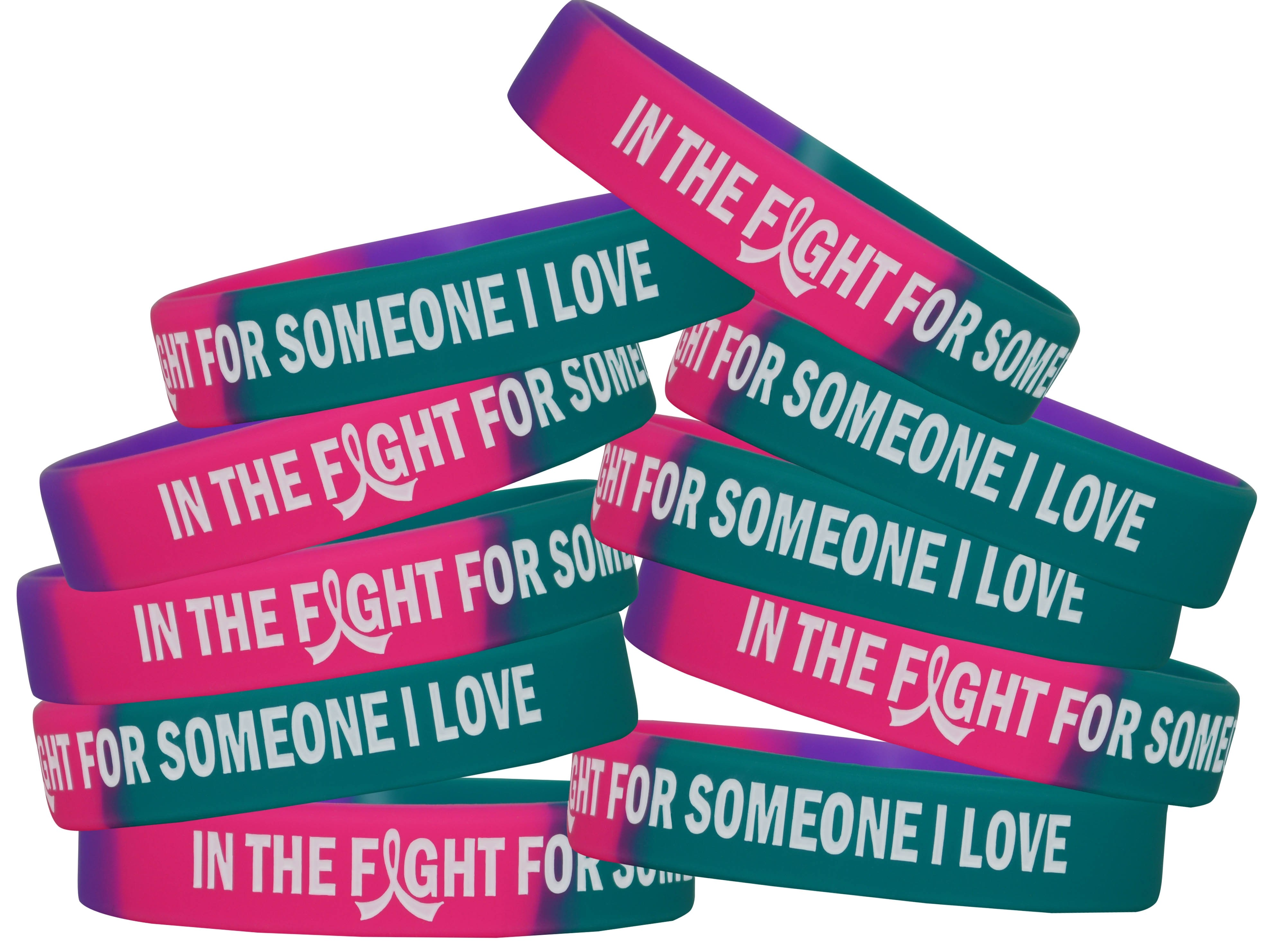 """""""In The Fight"""" Ink-Filled Silicone Wristband - Teal, Purple, Pink ("""