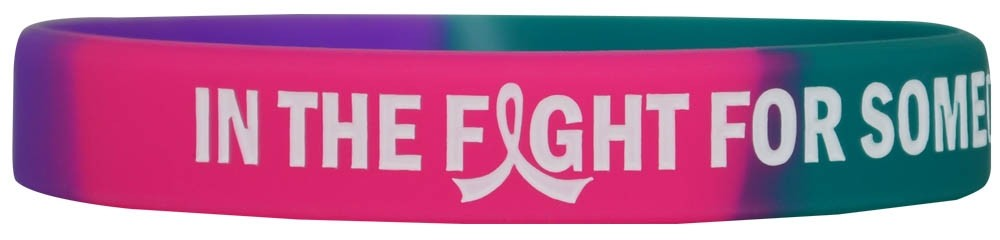 """In The Fight"" Ink-Filled Silicone Wristband Bracelet - Teal, Purple, Pink"